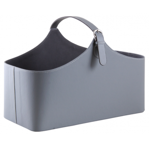 Photo PFA1410 : Corbeille de rangement en simili cuir gris