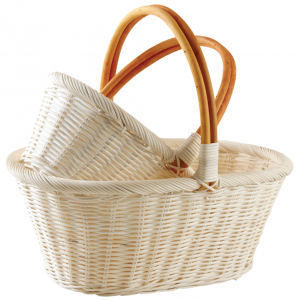 Photo PMA511S : Oval natural rattan baskets with handles