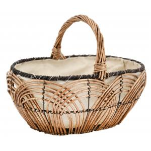 Photo PMA5150J : Oval openwork willow and jute basket