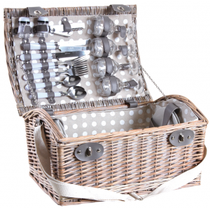 Photo PPI1220C : Picnic basket in whitewashed willow for 4 persons