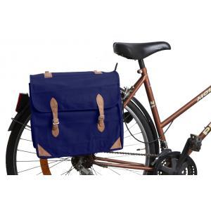 Photo PVE1181 : Sacoche à vélo en coton et cuir Bleue