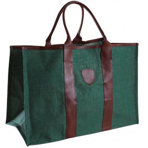Photo SBU1260 : Sac à bûches en jute verte, intérieur plastifié. Poignées en simili cuir.