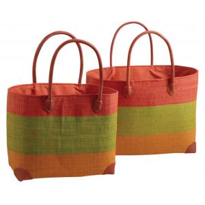 Photo SMA390SC : Palm leaf and raffia matting bags, coral, anis and saffron