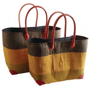 Photo SMA391SC : Tricolor palm leaf and raffia matting bags