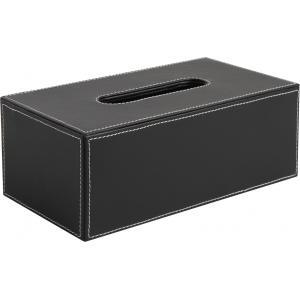 Photo TDI1520 : Boite à mouchoirs en simili cuir noir