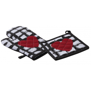 Photo TTX177S : Cotton oven glove and pot holder Heart