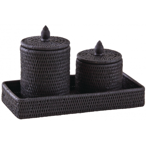 Photo VBT313S : Set lacquered rattan bath tray and bath containers
