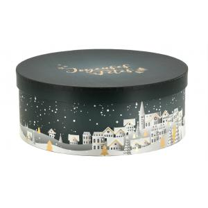 Photo VBT3222 : Round cardboard box with Christmas town