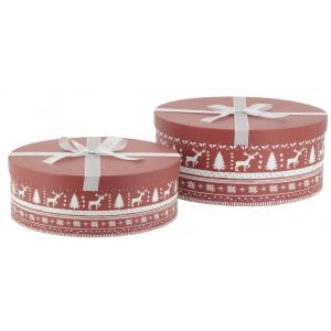 Photo VBT330S : Cardboard rounded boxes - Christmas Jacquard