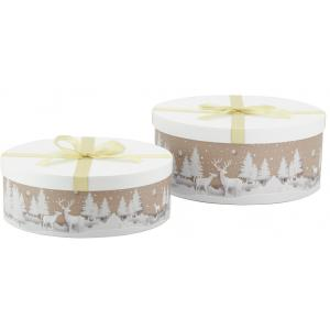 Photo VBT331S : Cardboard rounded boxes - Deers design