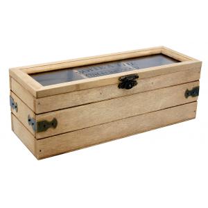 Photo VCP1270V : Boîte à thé 3 compartiments en bois et verre Thé et infusions