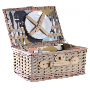 Photo VPI1350C : Wood and willow picnic basket for 2 people