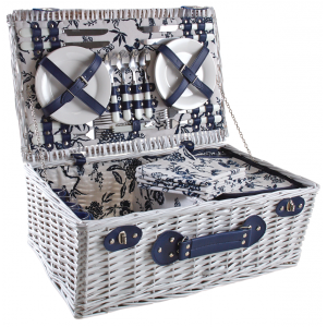 Photo VPI1360C : Picnic basket in white willow 4 persons