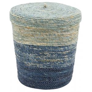 Photo VRA1390 : Panier à linge en mais teinté bleu, avec couvercle.