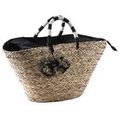 Photo SCO2050C : Natural rush and stained rope bag with pompoms