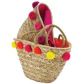 Photo SFA2910C : Natural rush bag with pompoms