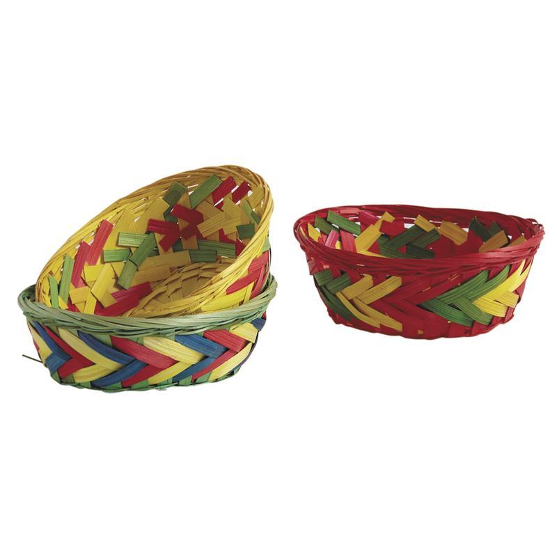 Corbeille ovale en bambou multicolore