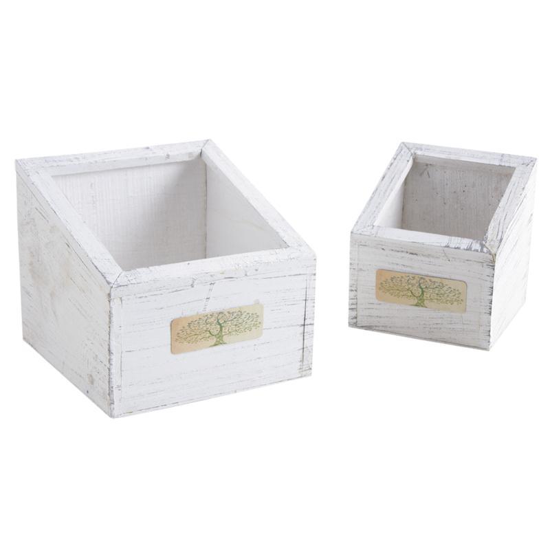 corbeilles carr es en bois teint blanc cco917sp aubry gaspard. Black Bedroom Furniture Sets. Home Design Ideas