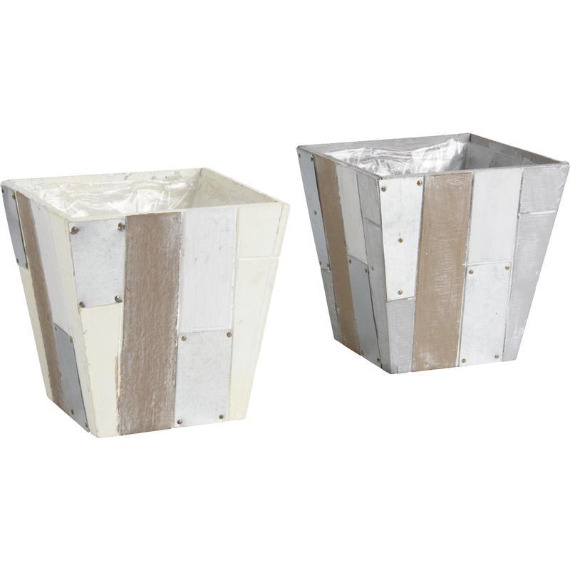 cache pot en bois et zinc cpo1440p aubry gaspard. Black Bedroom Furniture Sets. Home Design Ideas
