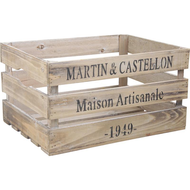 caisse en bois vieilli cra3860 aubry gaspard. Black Bedroom Furniture Sets. Home Design Ideas