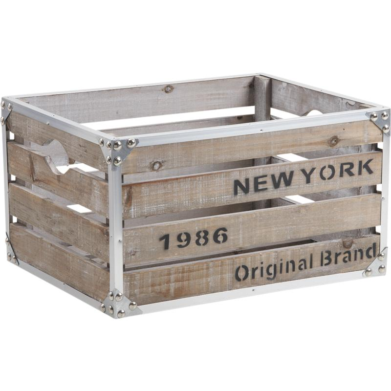 caisse en bois et m tal new york cra4200 aubry gaspard. Black Bedroom Furniture Sets. Home Design Ideas