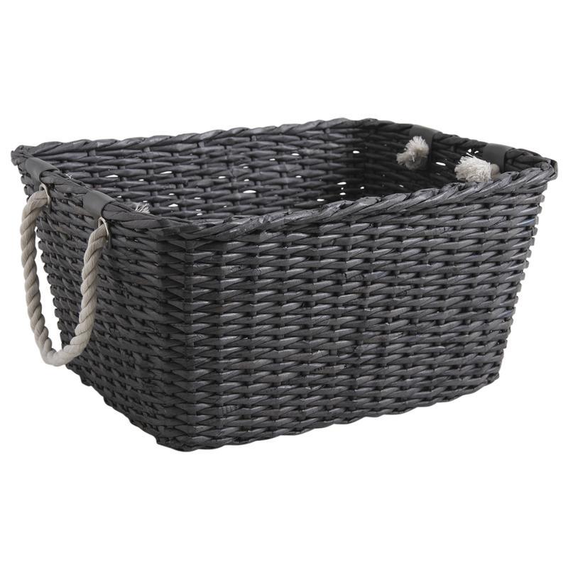 corbeille de rangement en papier recycl teint gris cra4550 aubry gaspard. Black Bedroom Furniture Sets. Home Design Ideas