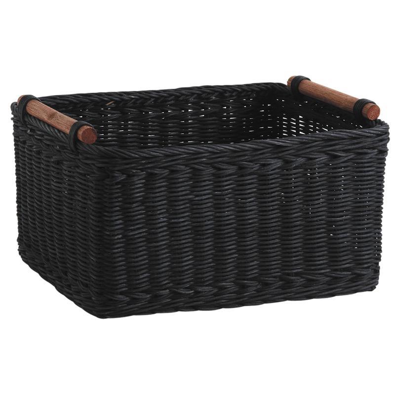 corbeille de rangement en rotin teint noir cra4581 aubry gaspard. Black Bedroom Furniture Sets. Home Design Ideas