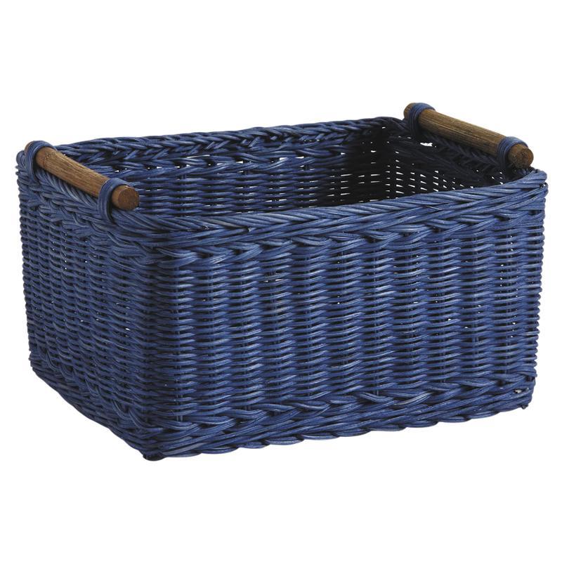 corbeille de rangement en rotin teint bleu cra4591 aubry gaspard. Black Bedroom Furniture Sets. Home Design Ideas
