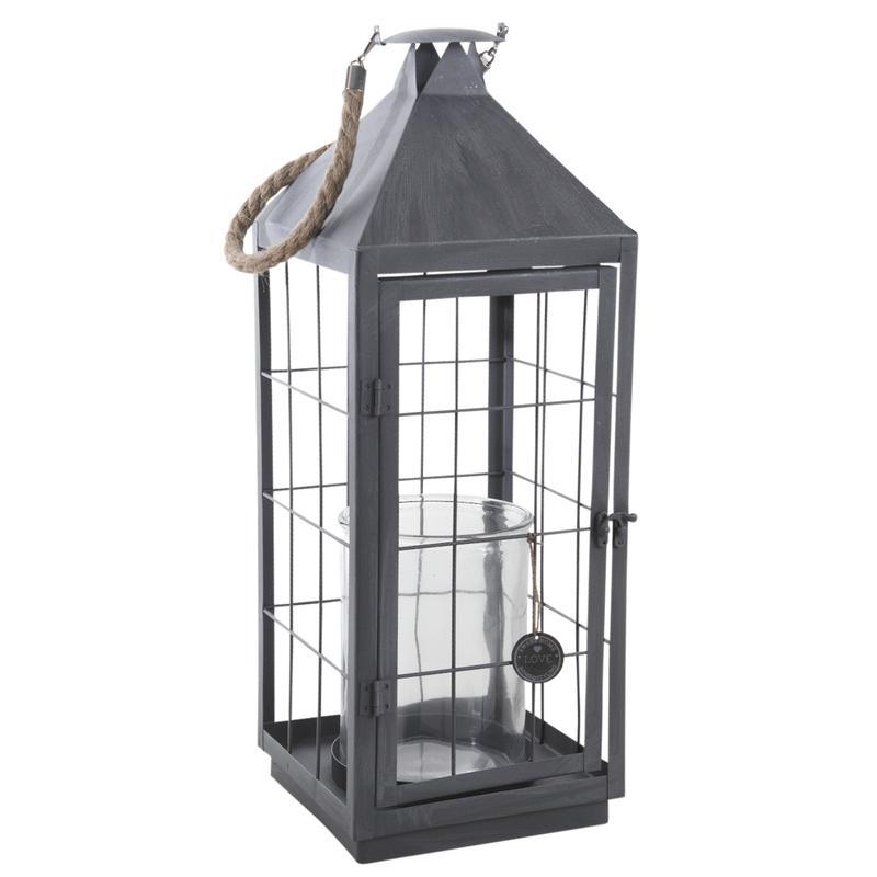 lanterne en m tal gris et verre dbo2250v aubry gaspard. Black Bedroom Furniture Sets. Home Design Ideas