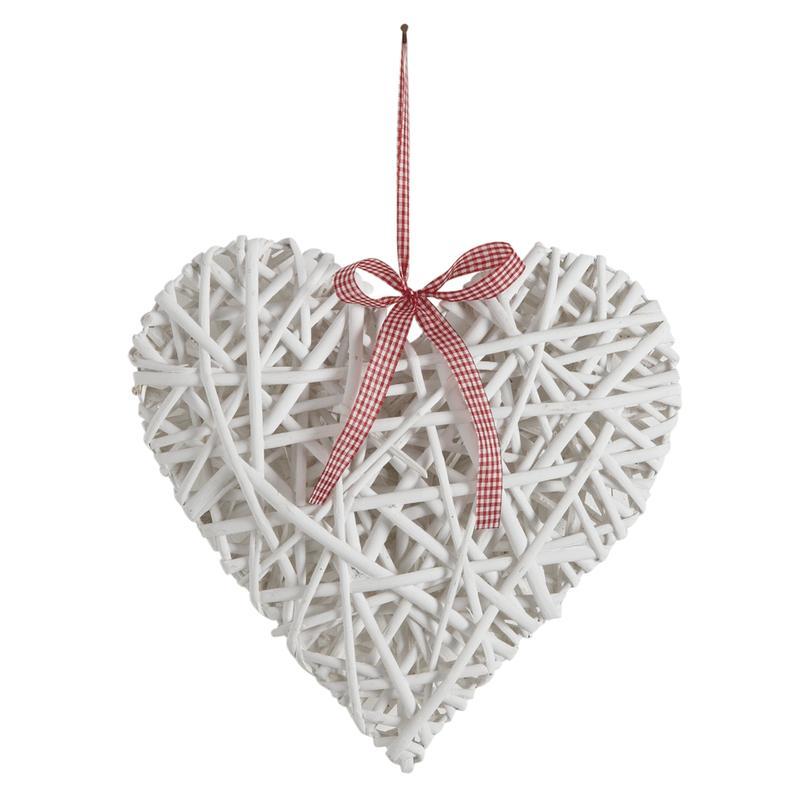 Coeur suspendre en osier laqu blanc dmo1331 aubry for Objet deco en solde