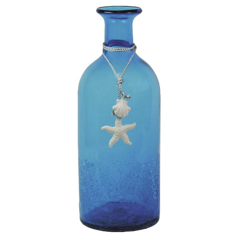 vase bouteille en verre bleu dva1480v aubry gaspard. Black Bedroom Furniture Sets. Home Design Ideas