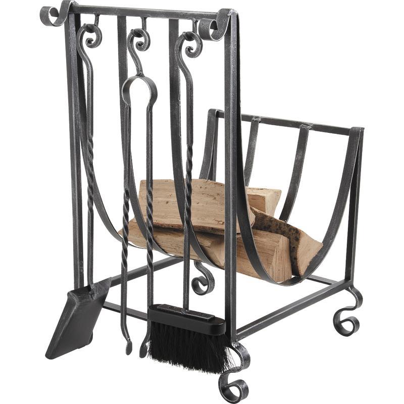 Porte b ches en fer forg 3 accessoires gch160s - Porte bois fer forge ...