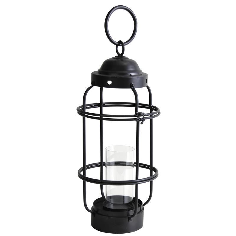 lanterne en m tal noir et verre gla1200v aubry gaspard. Black Bedroom Furniture Sets. Home Design Ideas