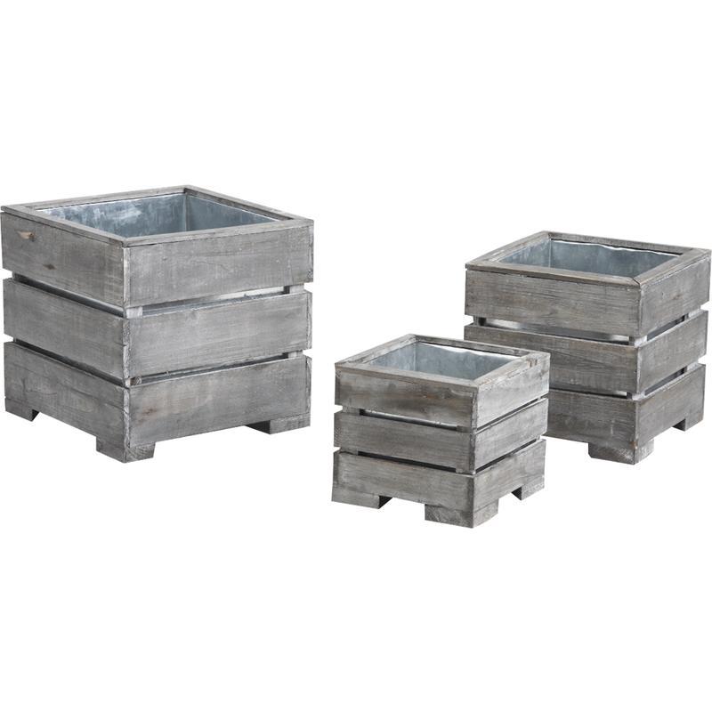 cache pot en bois vieilli et zinc jcp348s aubry gaspard. Black Bedroom Furniture Sets. Home Design Ideas
