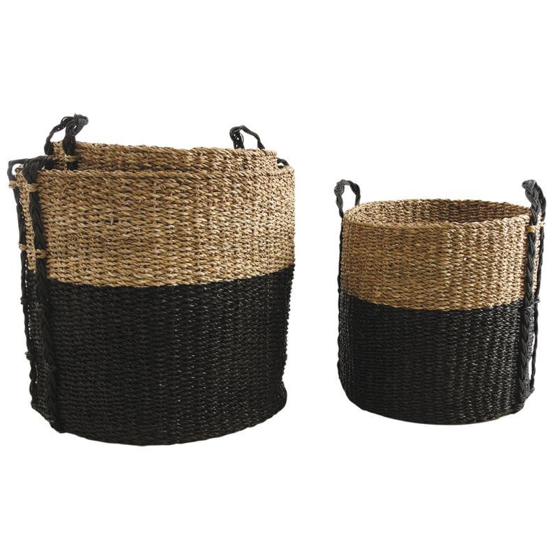 cache pot en jonc de mer naturel et teint noir jcp363s. Black Bedroom Furniture Sets. Home Design Ideas