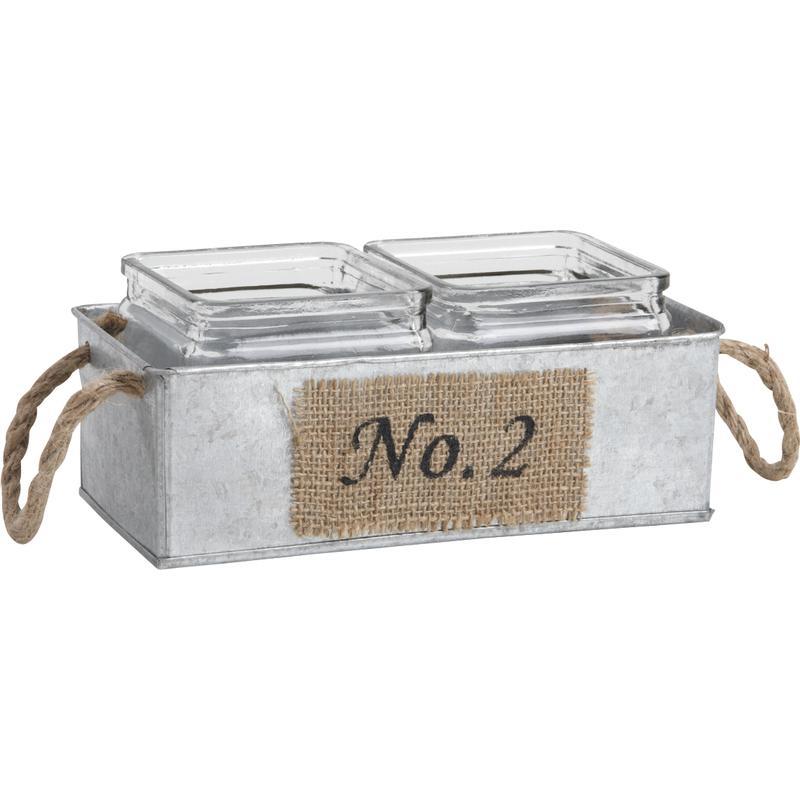 jardini re en zinc 2 pots en verre jja1910v aubry. Black Bedroom Furniture Sets. Home Design Ideas