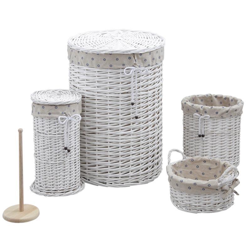 panier linge avec corbeilles en clisse laqu e blanche. Black Bedroom Furniture Sets. Home Design Ideas