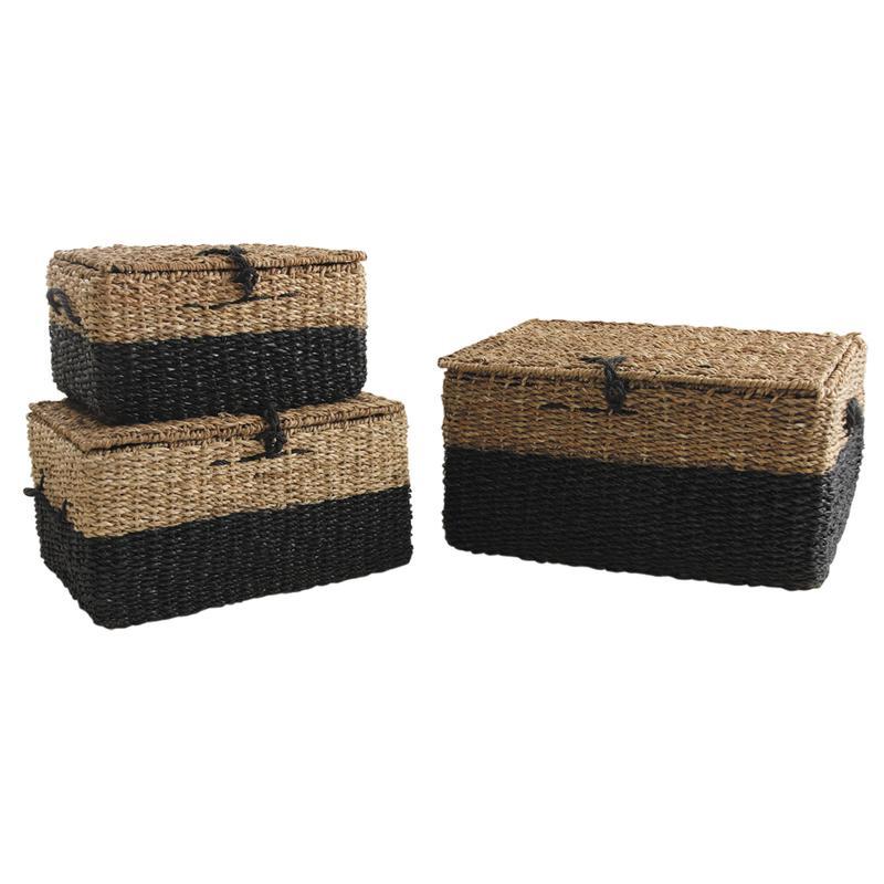 malles en jonc de mer naturel et teint noir kma199s. Black Bedroom Furniture Sets. Home Design Ideas