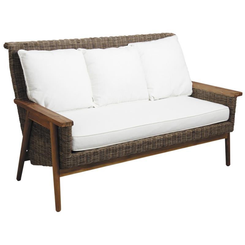 canap en poelet gris antique et teck mca1370c aubry. Black Bedroom Furniture Sets. Home Design Ideas