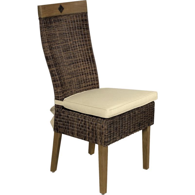 Chaise en rotin et teck emerald mch1220c aubry gaspard for Chaise en rotin et metal