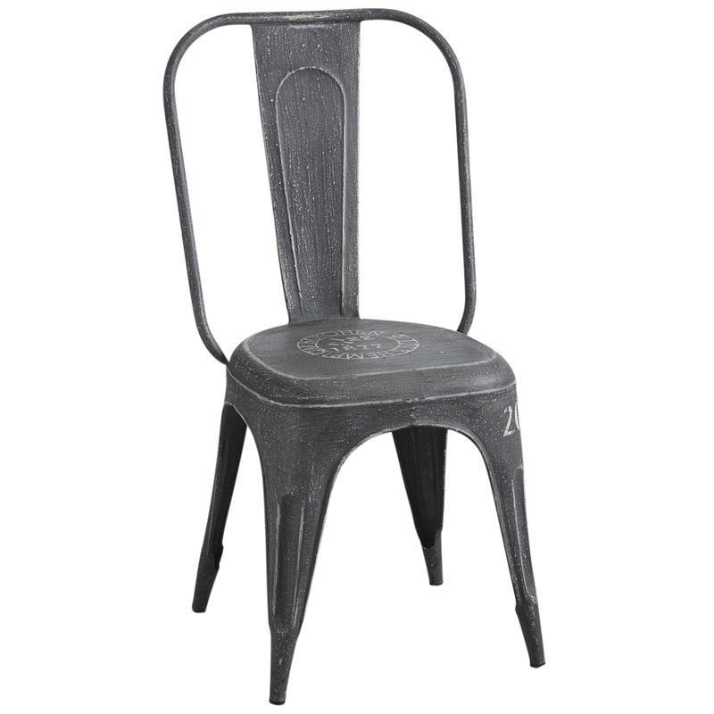 chaise en m tal noir vieilli mch1390 aubry gaspard. Black Bedroom Furniture Sets. Home Design Ideas