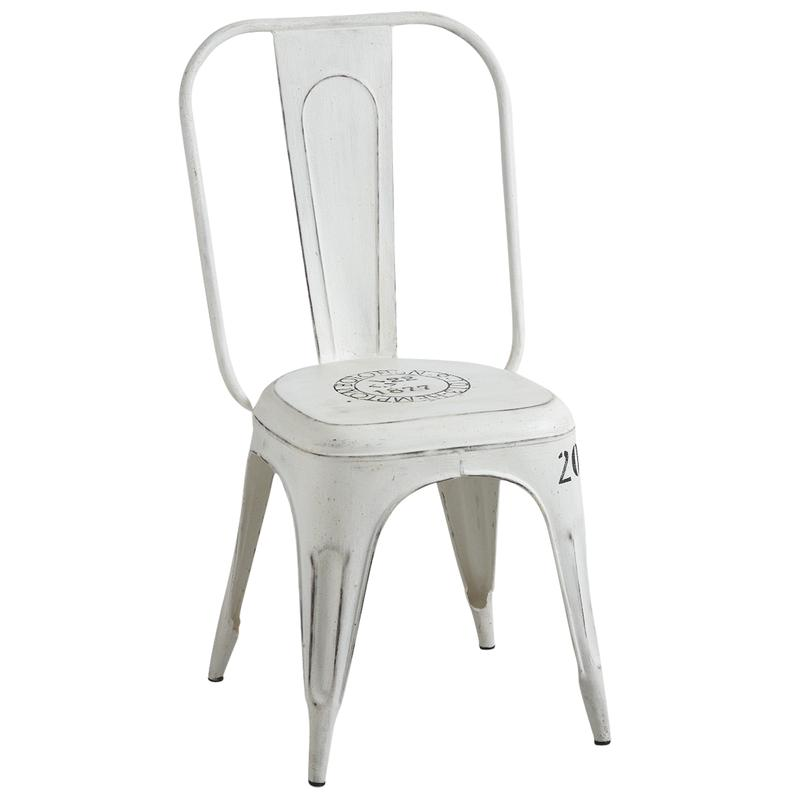 Old white metal chair  MCH1400  AubryGaspard