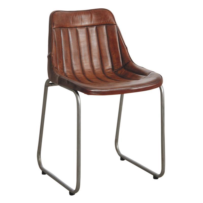 Chaise en cuir et m tal mch1420c aubry gaspard - Chaise metal et cuir ...