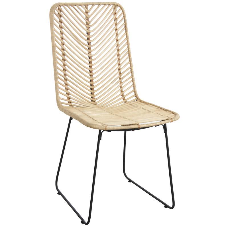 Chaise en rotin et m tal noir mch1560 aubry gaspard for Chaise en rotin et metal