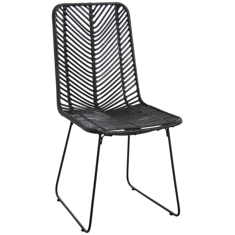 Chaise en rotin noir et m tal mch1570 aubry gaspard for Chaise en rotin et metal