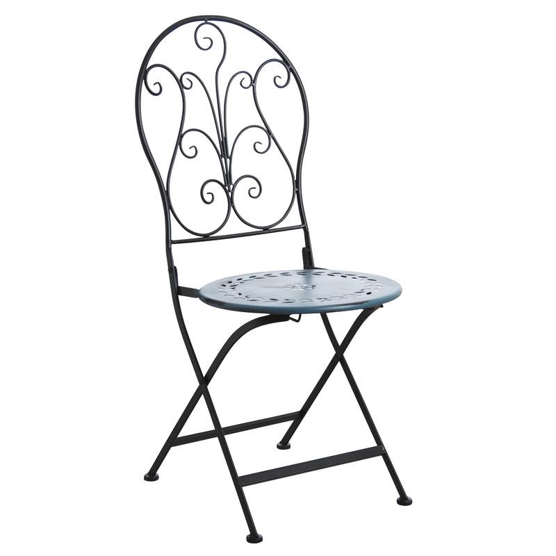 chaise de terrasse pliante en m tal bleu mct1211 aubry gaspard. Black Bedroom Furniture Sets. Home Design Ideas