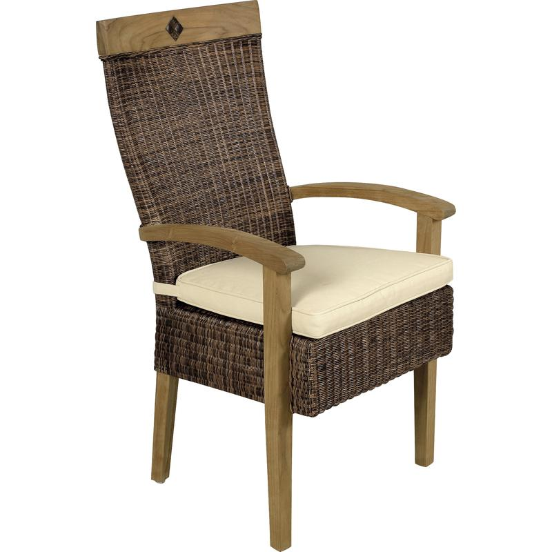 fauteuil en rotin et teck emerald mfa1930c aubry gaspard. Black Bedroom Furniture Sets. Home Design Ideas