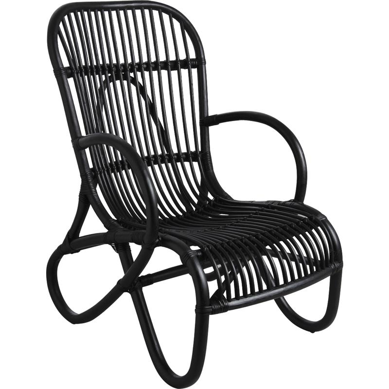 fauteuil en rotin laqu noir mfa2350 aubry gaspard. Black Bedroom Furniture Sets. Home Design Ideas