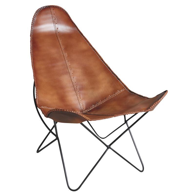 fauteuil papillon en m tal et cuir mfa2560c aubry gaspard. Black Bedroom Furniture Sets. Home Design Ideas