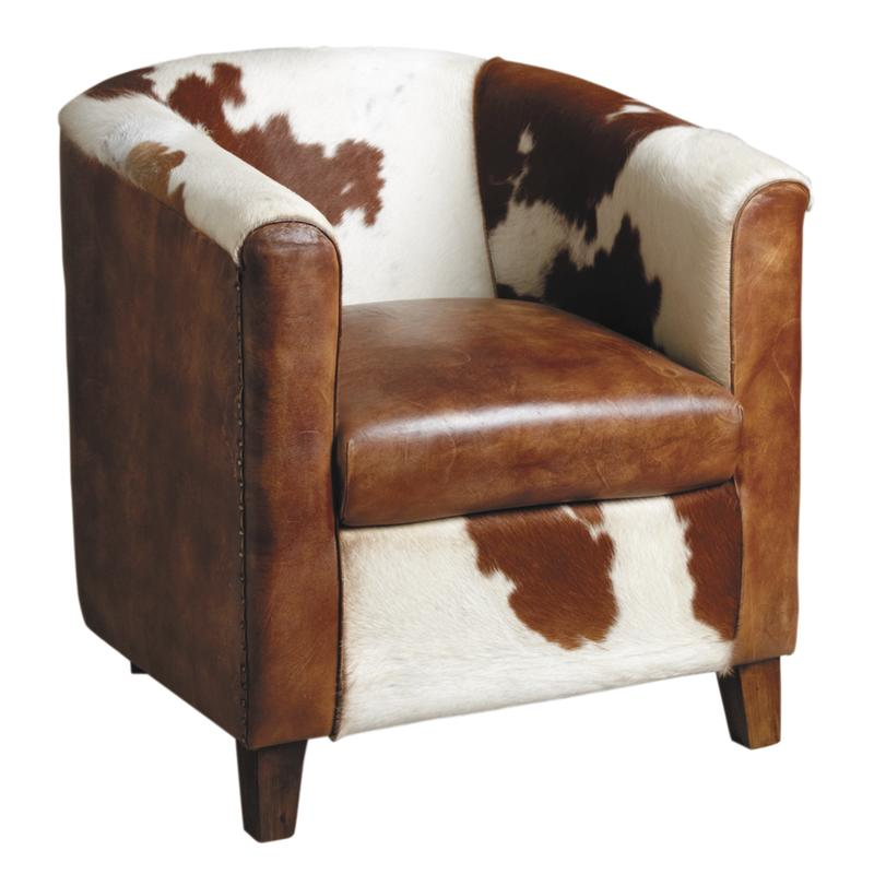 fauteuil club en cuir marron et peau de vache mfa2570c aubry gaspard. Black Bedroom Furniture Sets. Home Design Ideas